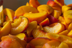 Ripe peach slices. Fresh organic fruits. Cooking Royalty Free Stock Photo