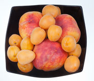 Ripe peaches and apricots in black plate Royalty Free Stock Images