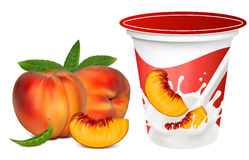 Ripe  peaches falling into the milky splash. Vector illustration. Ripe  peaches falling into the milky splash. Background for design of packing yoghurt with Stock Photography