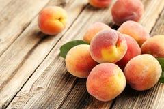 Ripe peaches fruit Stock Photos