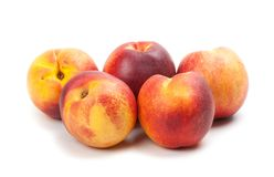 Ripe peaches fruits isolated on white Royalty Free Stock Images