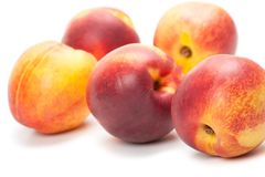 Ripe peaches fruits isolated on white Royalty Free Stock Image