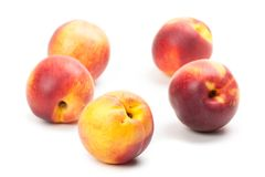 Ripe peaches fruits isolated on white Royalty Free Stock Photography