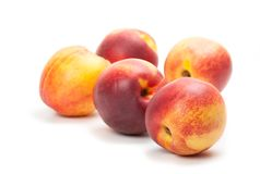 Ripe peaches fruits isolated on white Royalty Free Stock Photo