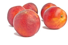 Ripe peaches. Peaches isolated on white background Stock Images