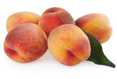 Ripe peaches with leaf Royalty Free Stock Images
