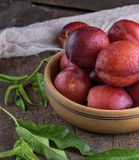 Ripe peaches nectarine in a brown wooden bowl Royalty Free Stock Photos