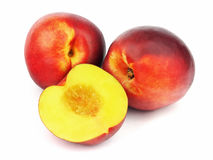 Ripe peaches on white background Royalty Free Stock Photography