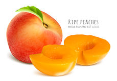 Ripe peaches, whole and half cut slices. Royalty Free Stock Photography