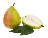 Ripe pear with cut and green leaves isolated on white background Stock Photo