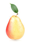 Ripe pear with green leaf Stock Images