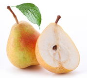 Ripe pear and a half. Royalty Free Stock Photos