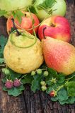 Ripe pear and raspberry Royalty Free Stock Photography