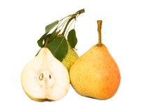 Ripe pears. And segment isolated on white Royalty Free Stock Images