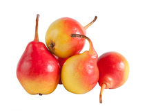 Ripe pears. Some ripe red and yellow pears isolated on white background Stock Photos