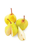 Ripe pears. Pears on a white background, Ripe yellow pears, green Pearss, liced pears, Three juicy pears, top view of the pear Royalty Free Stock Photography