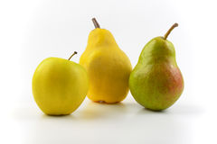 Ripe pears and apple Stock Image
