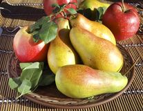 Pears and apples on a plate Royalty Free Stock Image