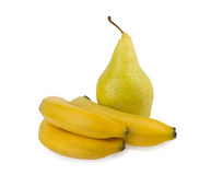 Ripe pears and banana isolated on white background Royalty Free Stock Images