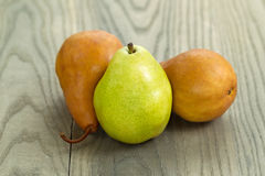 Ripe Pears on Faded Wood Stock Photo