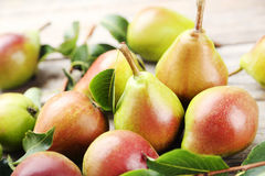Ripe pears. On grey wooden table stock photos