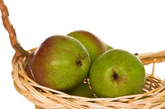 Ripe pears in handmade basket Royalty Free Stock Image