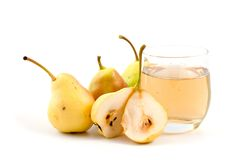 Ripe pears and juice Stock Images