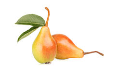 Ripe pears. With leafs on white background Stock Photography
