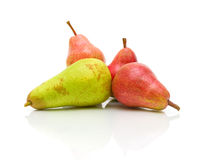 Ripe pears on a white background closeup Stock Photography