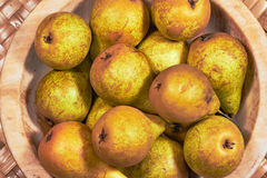 Ripe pears in a wooden bowl Royalty Free Stock Image
