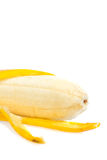Ripe peeled banana isolated on white Stock Photography
