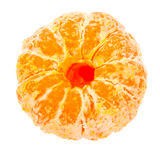 Ripe peeled tangerine on a white background Royalty Free Stock Photography
