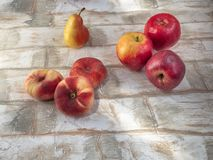 Ripe pensions, pears, apples lie on a wooden table stock photos