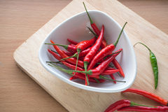 Ripe pepper on the white dish and wooden block. Stock Photo