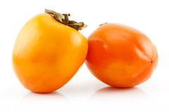 Ripe Persimmon Fruit Isolated on White Royalty Free Stock Photos