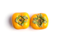 Ripe persimmon isolated on white background Royalty Free Stock Photo