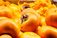 Ripe persimmons. In close up Royalty Free Stock Photography