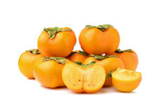 Ripe persimmons isolated on white background Stock Photography