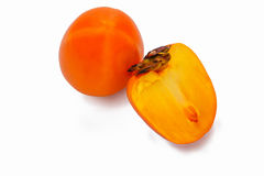 Ripe persimmons isolated on a white background. Fresh ripe Persimmons isolated on White Background royalty free stock photography