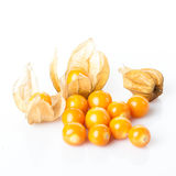 Ripe physalis isolated on a white background.  Physalis peruvian Stock Images