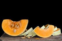 Ripe pieces of raw pumpkin Stock Photos