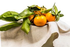 Ripe pile of tangerines on the linen table cloth Royalty Free Stock Image