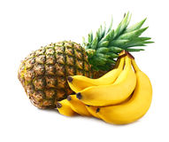 Ripe pineapple and bananas. Royalty Free Stock Image