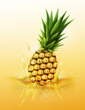 Ripe pineapple drop on juice splash and ripple, Realistic Fruit and yogurt, transparent, vector illustration vector illustration