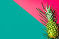 Ripe pineapple on green palm leaf on duotone fuchsia pink turquoise background. Trendy funky style vivid colors. Summer vacation. Tropical theme beach party royalty free stock image