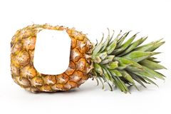 Ripe pineapple with a price tag Stock Photos