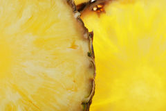 Ripe pineapple. Round pieces of sliced of fresh ripe pineapple Stock Photos