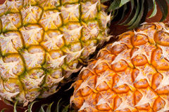 Ripe pineapple shell  on texture background healthy pineapple fruit food isolated Royalty Free Stock Photo