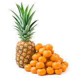 Ripe pineapple and tangerines. Isolated on a white background Royalty Free Stock Photography