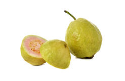 Ripe pink guava on white. Background Stock Photos